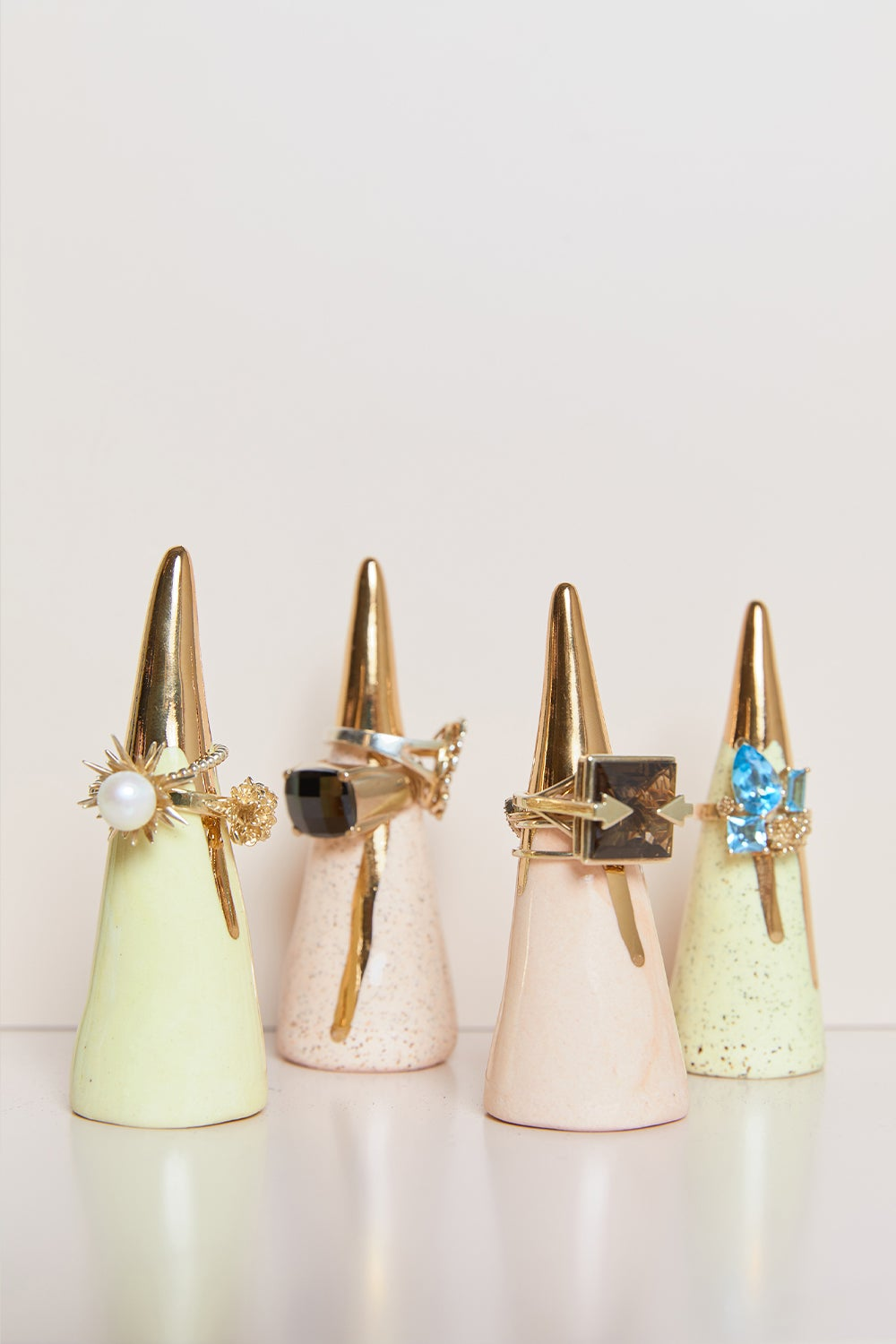 Claybird Tinted Ring Cone with Gold Drip Rim Speckled Peach