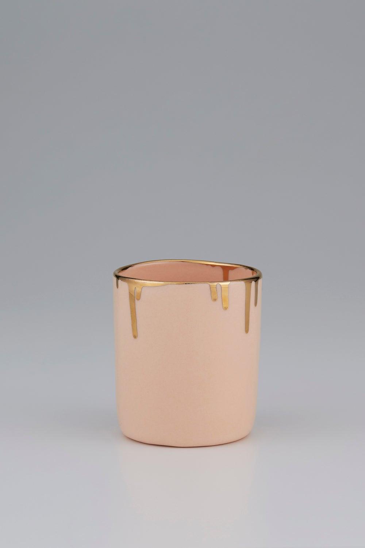 Claybird Tinted Tumbler with Gold Drip Rim Peach