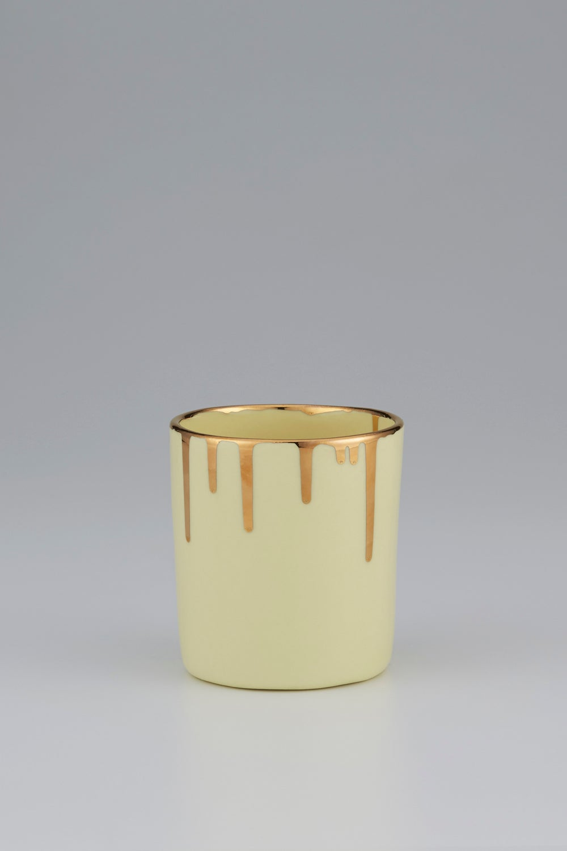 Claybird Tinted Tumbler with Gold Drip Rim Yellow