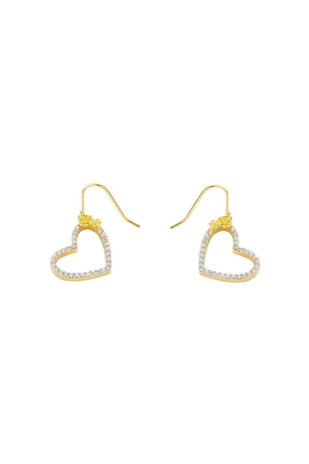 Diamond Botanical Heart Earring Gold, .50ct Diamond