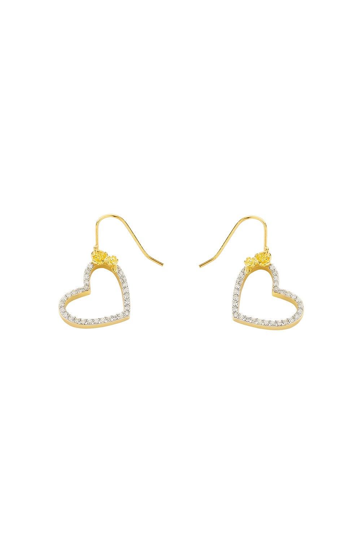 Diamond Botanical Heart Earring Gold, .50ct Diamond
