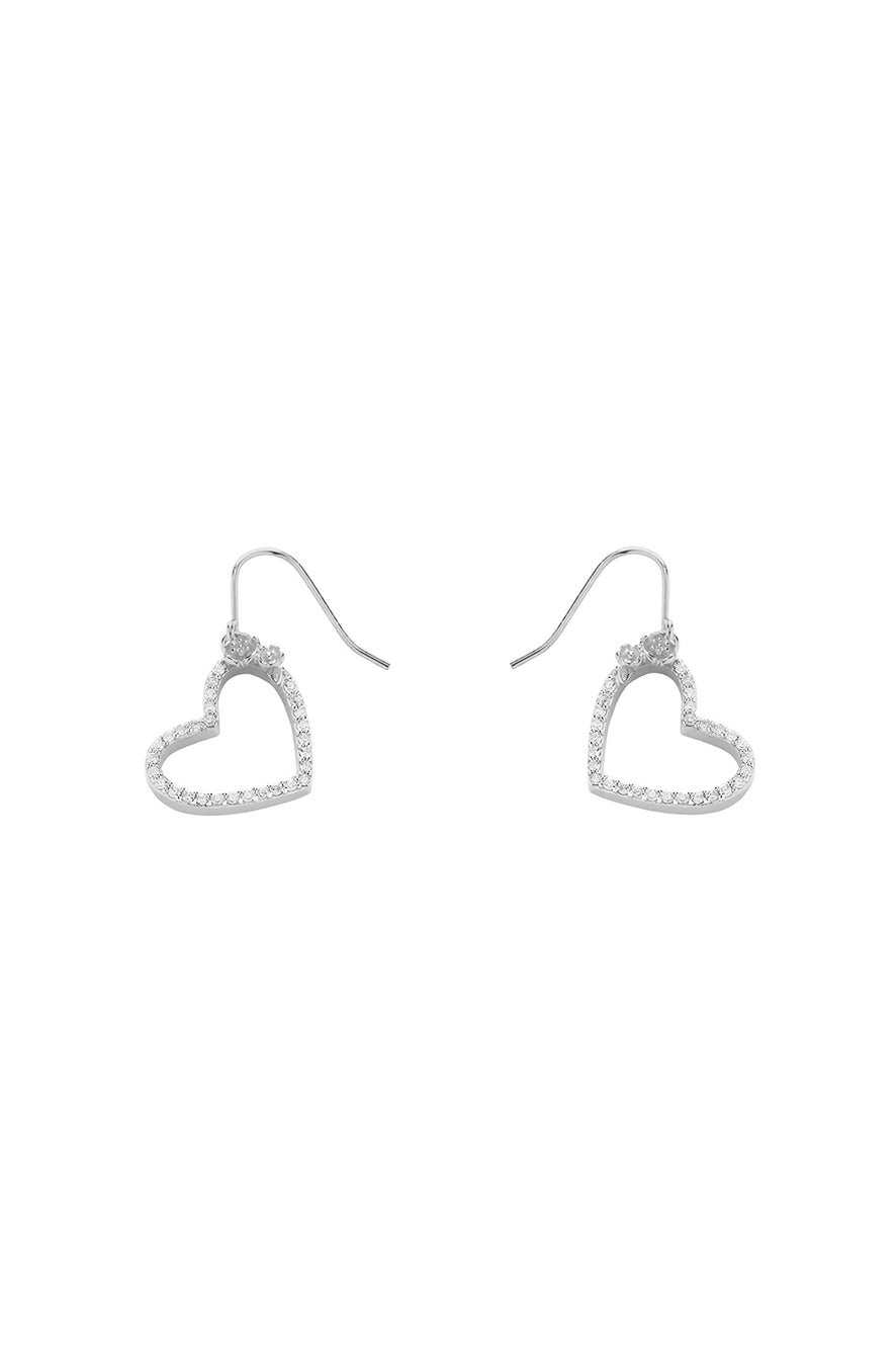 Diamond Botanical Heart Earring White Gold, .50ct Diamond