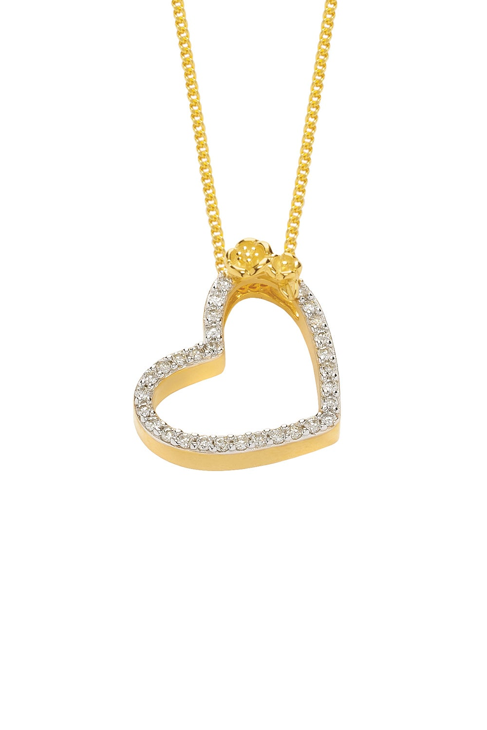 Diamond Botanical Heart Necklace, Gold, .25ct Diamond
