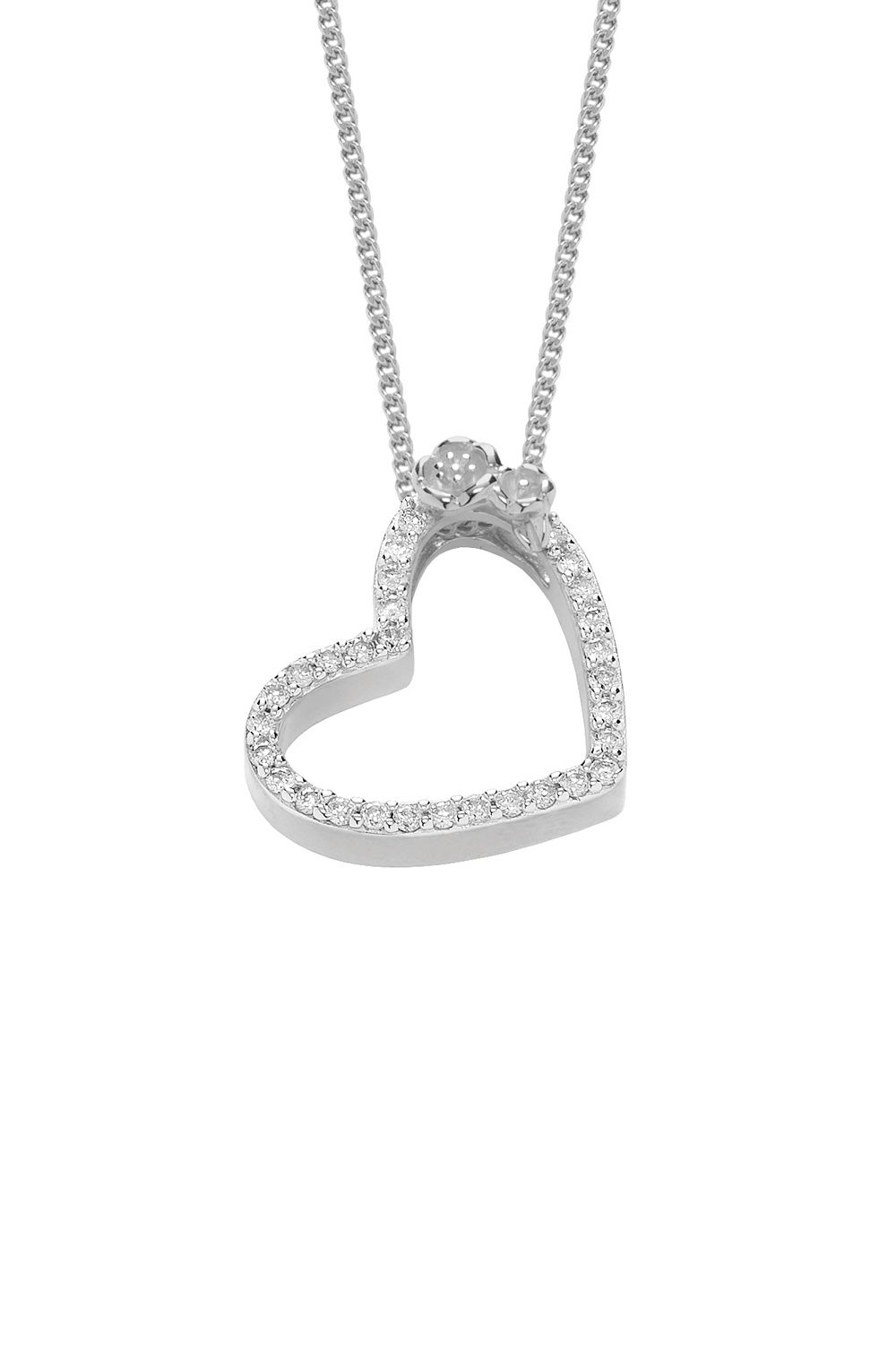 Diamond Botanical Heart Necklace, White Gold, .25ct Diamond
