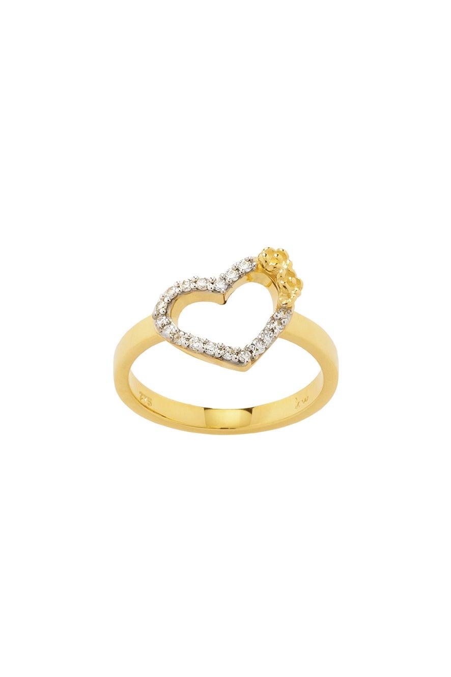 Diamond Botanical Heart Ring, Gold, .15ct Diamond