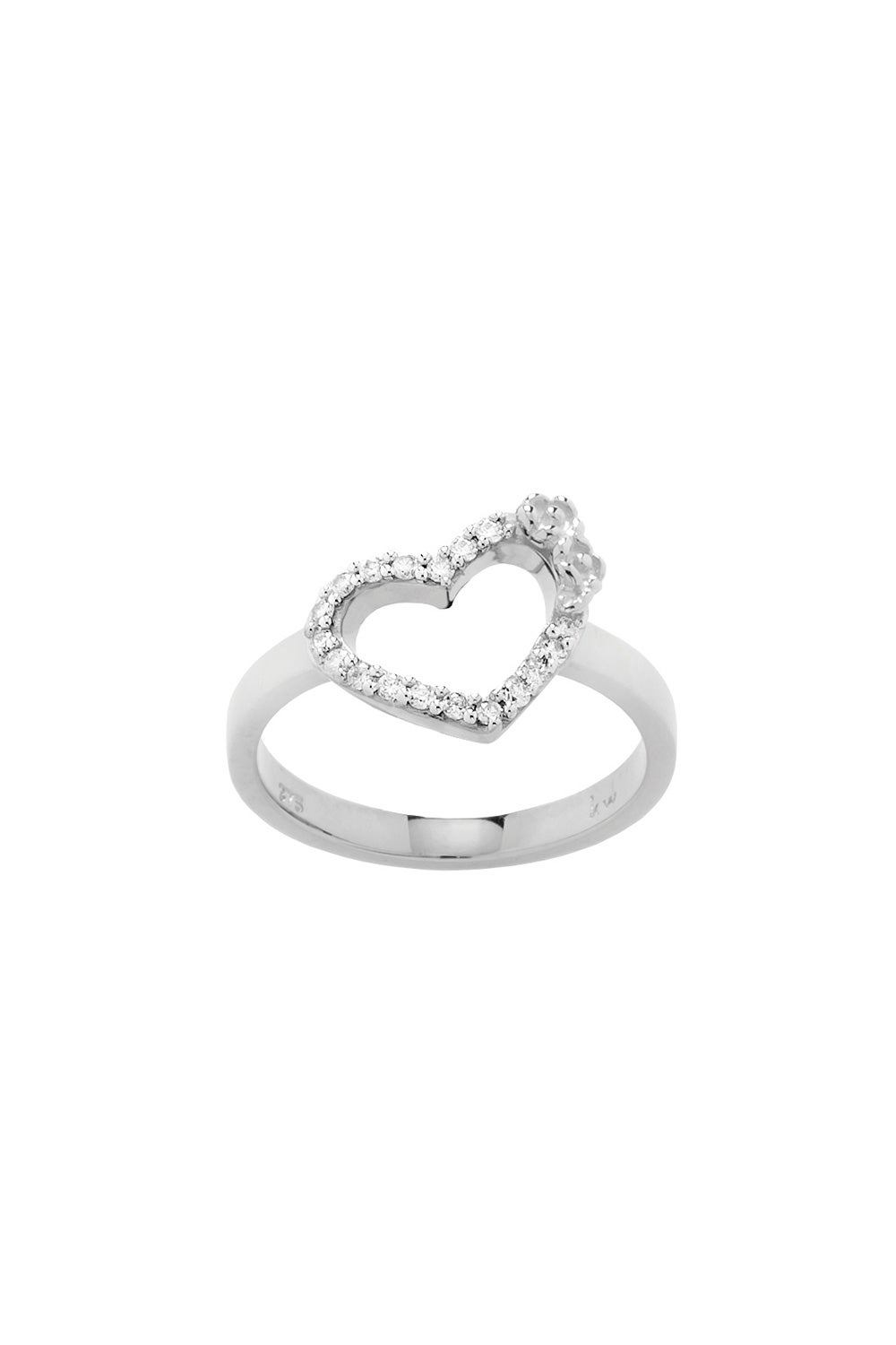 Diamond Botanical Heart Ring, 9ct White Gold, .15ct Diamond