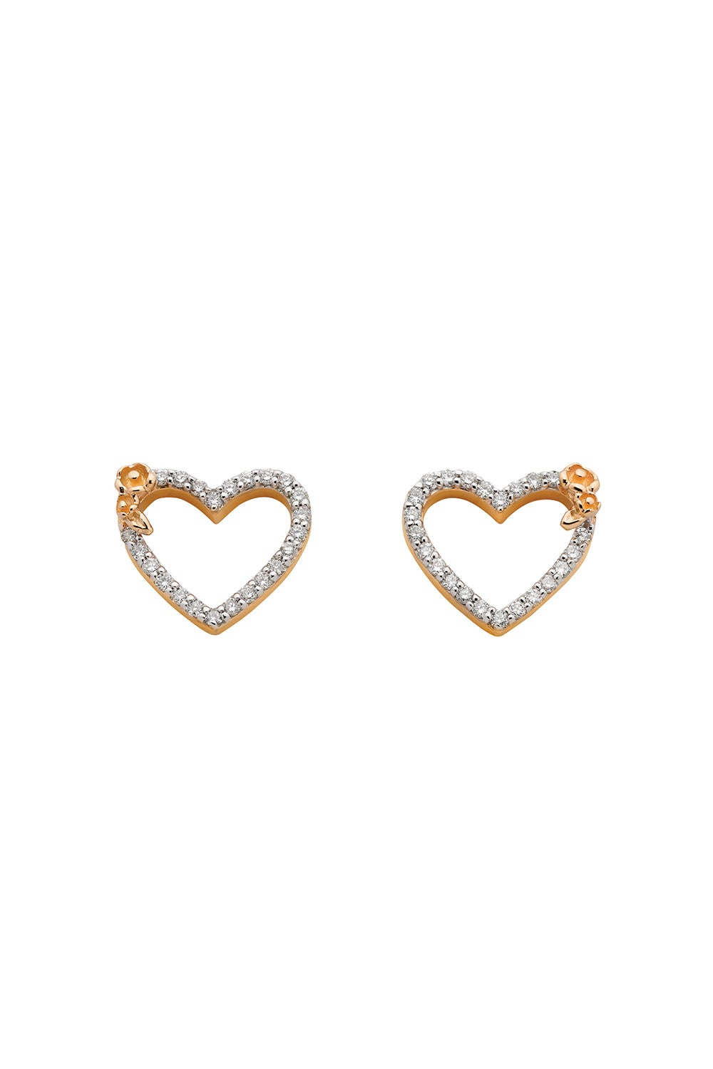 Diamond Botanical Heart Studs Gold, .38ct Diamond