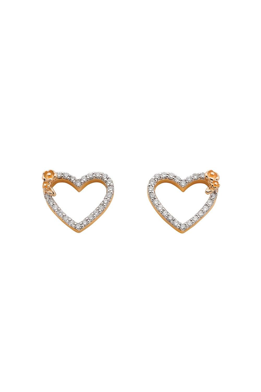Diamond Botanical Heart Studs Gold, .38ct Diamond