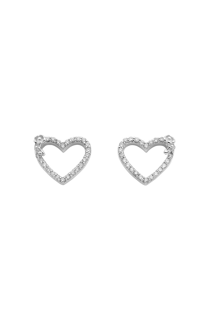 Diamond Botanical Heart Studs White Gold, .38ct Diamond