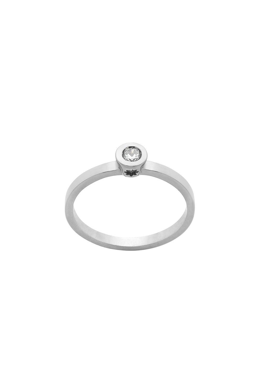 Diamond Brilliant Ring, 9ct White Gold, .10ct Diamond