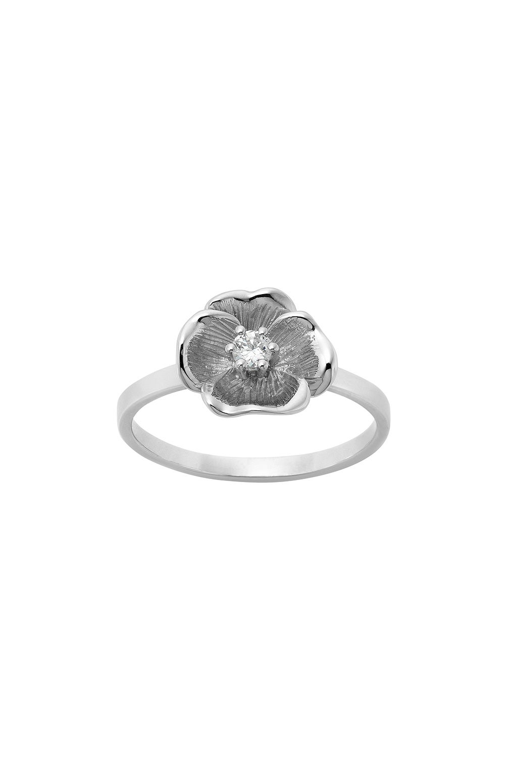 Diamond Etch Pansy Ring, 9ct White Gold, .10ct Diamond