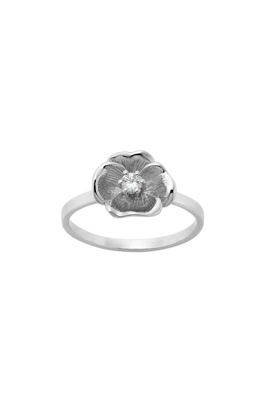 Diamond Etch Pansy Ring, 9ct White Gold, .10ct Diamond