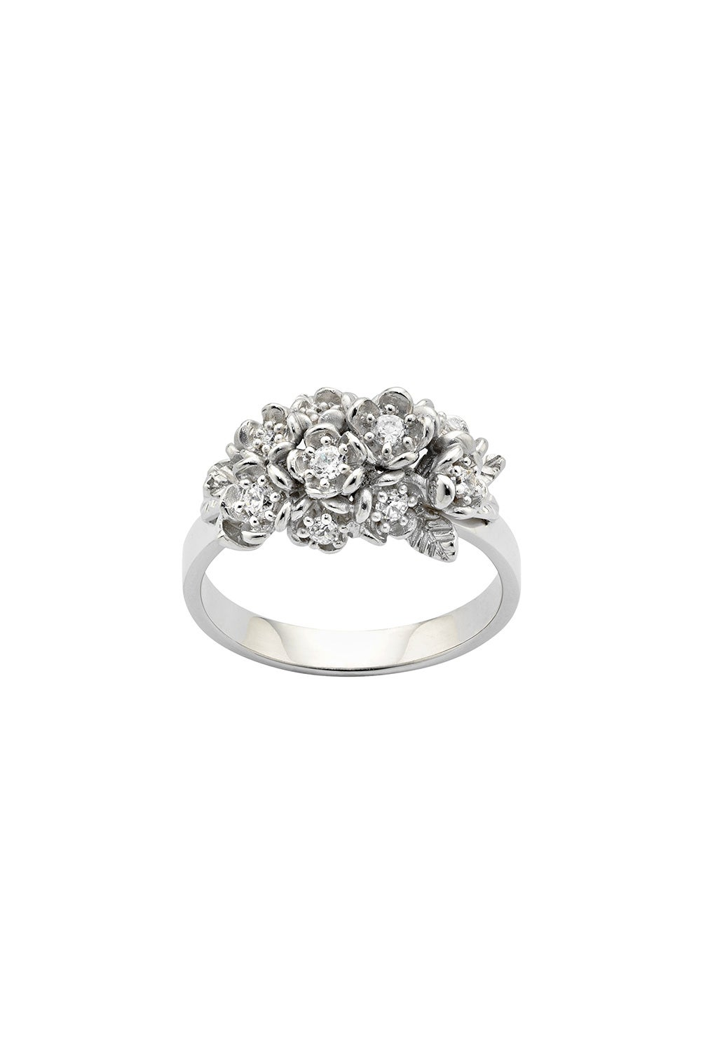 Diamond Flowers Ring, White Gold, 0.42ct Diamond