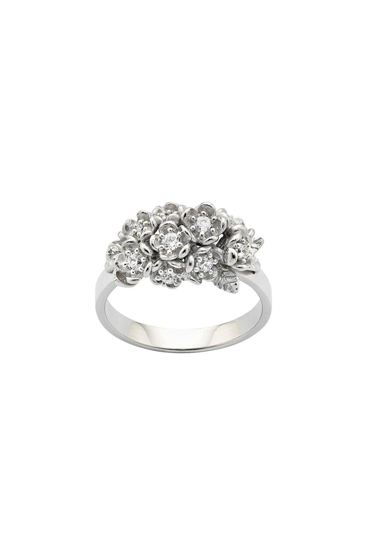 Diamond Flowers Ring, White Gold, 0.42ct Diamond
