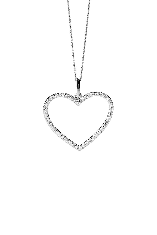Diamond Heart Necklace, White Gold, .31ct Diamond