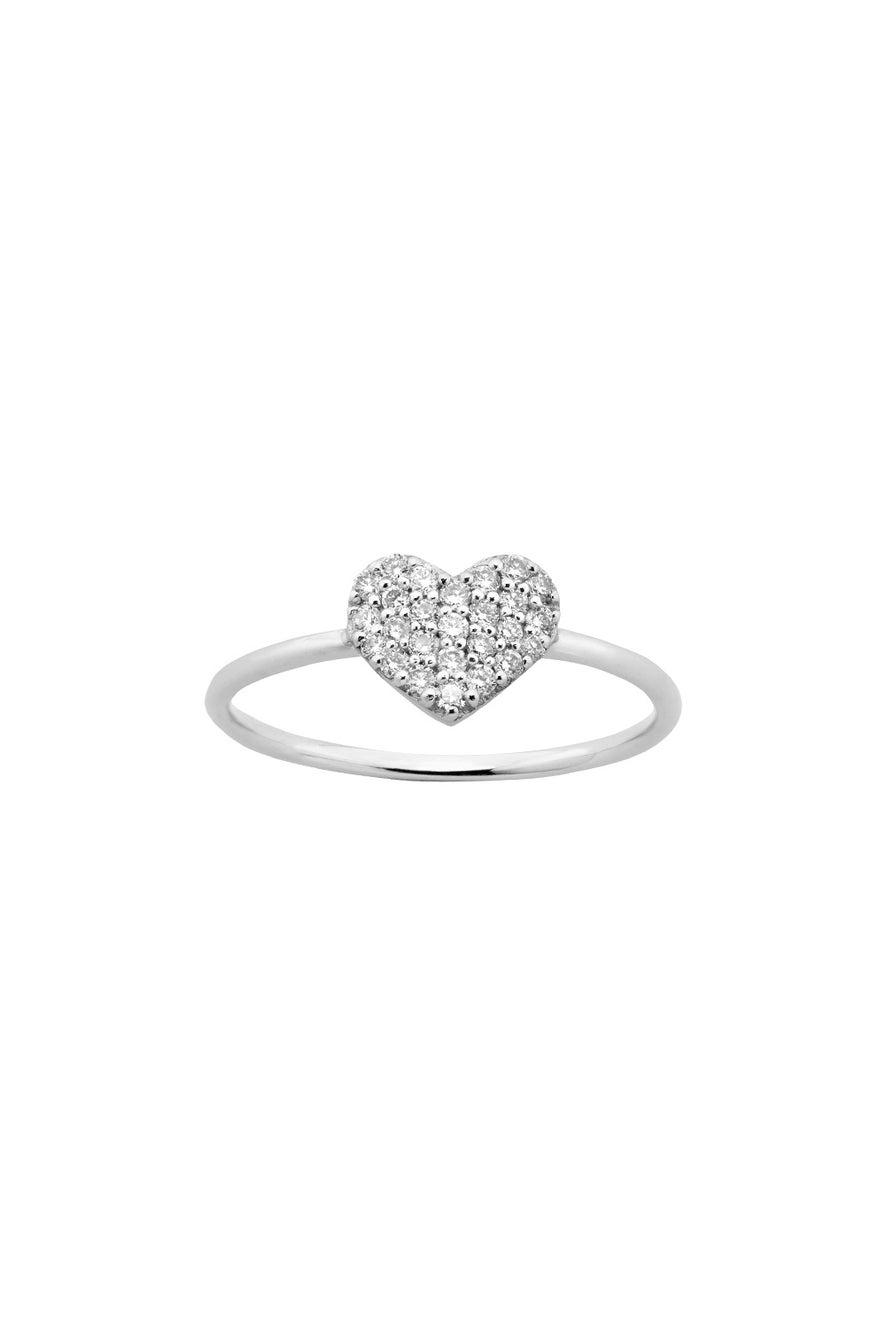 Diamond Heart Ring, White Gold, .19ct Diamond