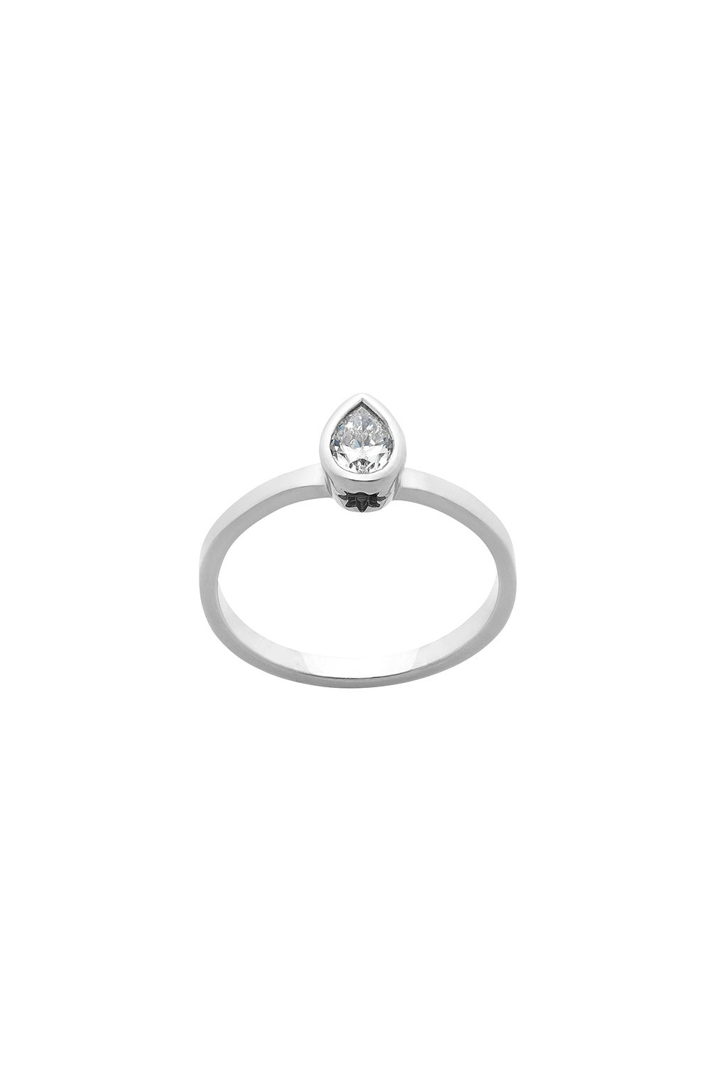 Diamond Pear Ring, 9ct White Gold, .25ct Diamond