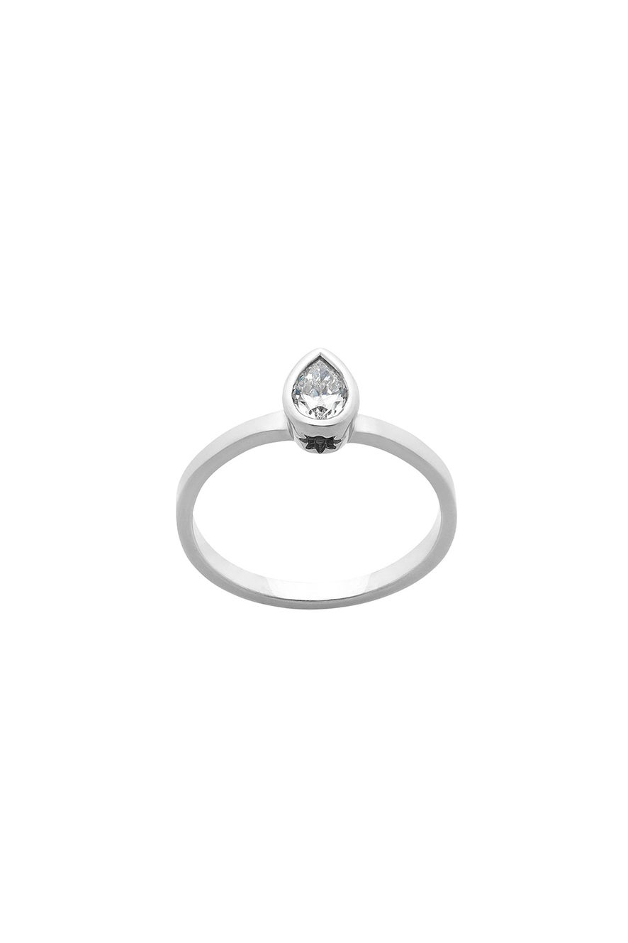 Diamond Pear Ring, 9ct White Gold, .25ct Diamond