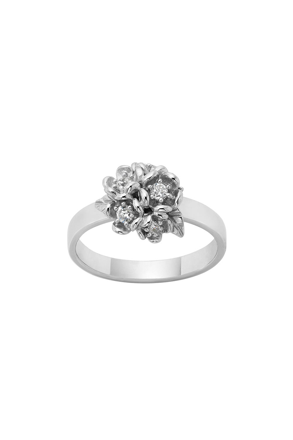 Diamond Posie Flower Ball Ring, 9ct White Gold , .24ct Diamond