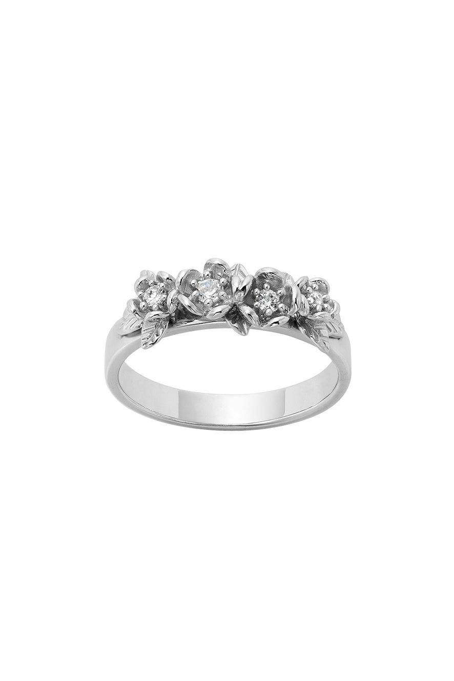 Diamond Posie Wreath Ring, 9ct White Gold, .13ct Diamond