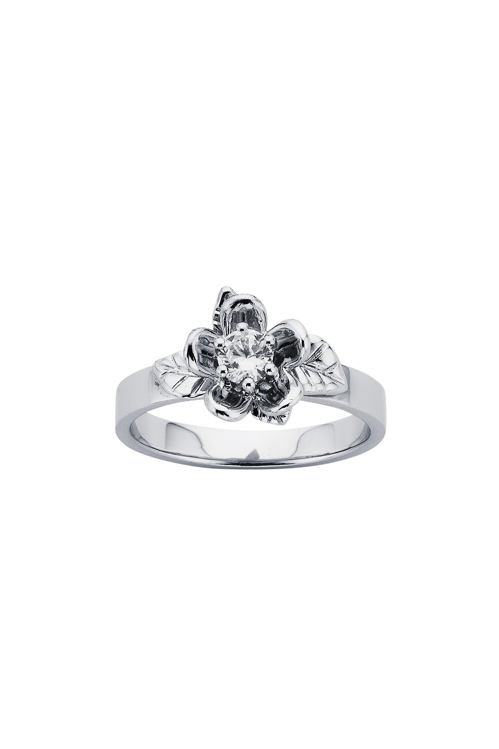 Diamond Single Posie Flower Ring, 9ct White Gold, .25ct Diamond