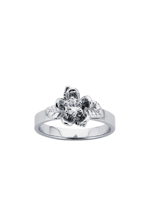 Diamond Single Posie Flower Ring, 9ct White Gold, .25ct Diamond