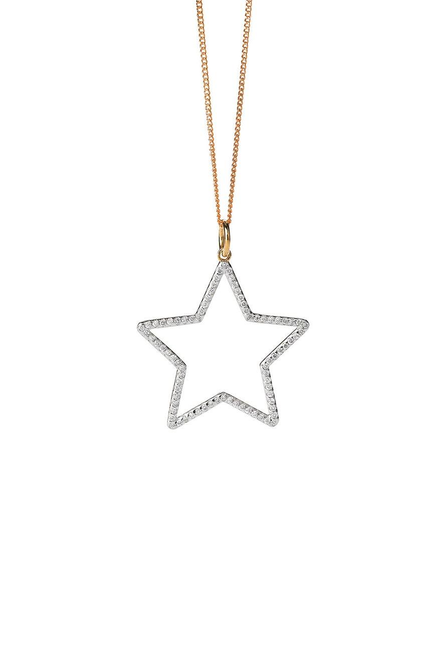 Diamond Star Necklace, Gold, .44ct Diamond
