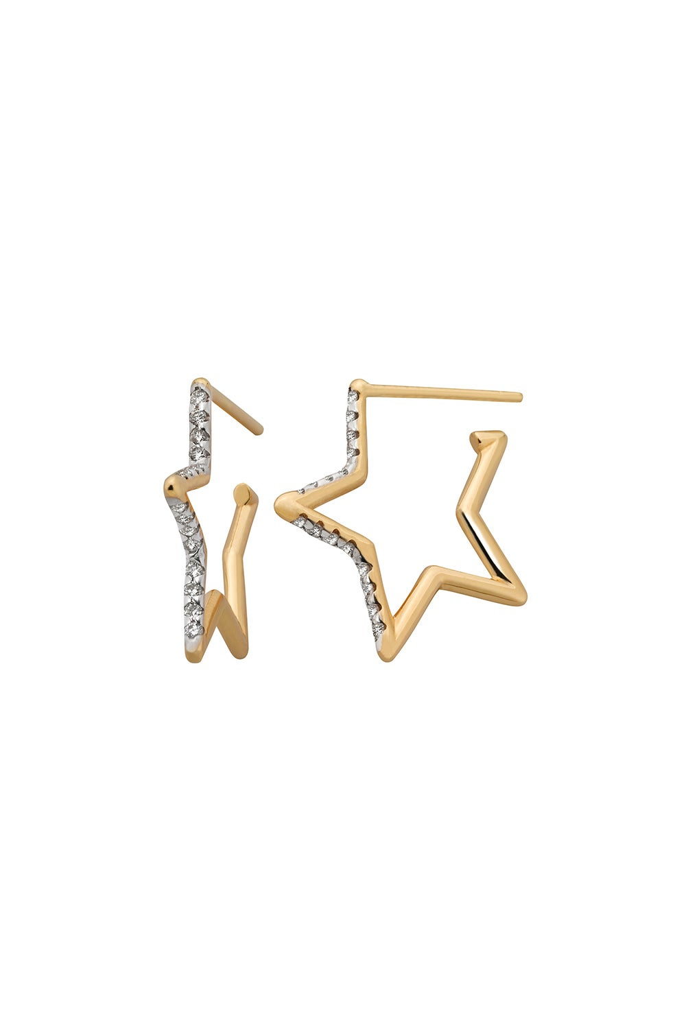 Diamond Star Outline Earring, 9ct Gold, .18ct Diamond