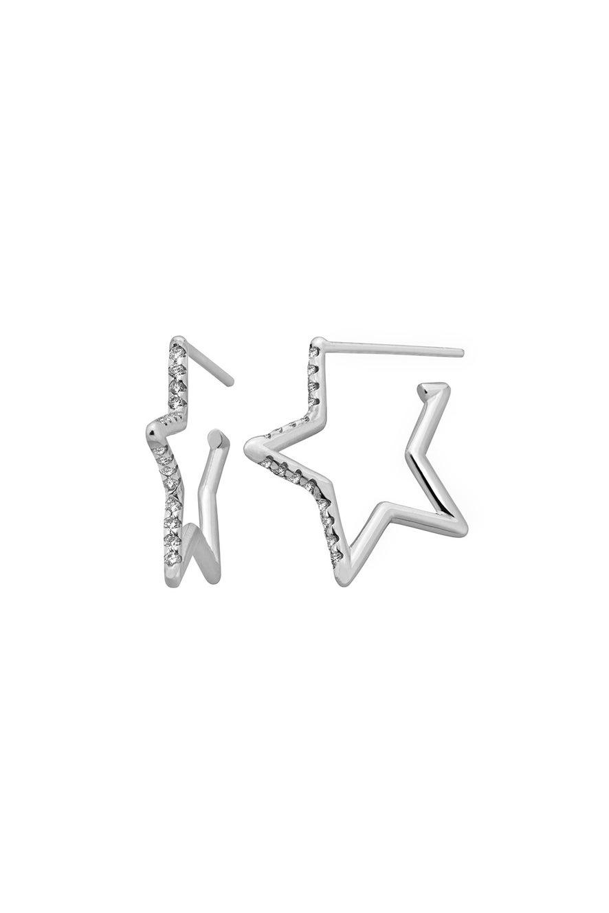 Diamond Star Outline Earring, 9ct White Gold, .18ct Diamond