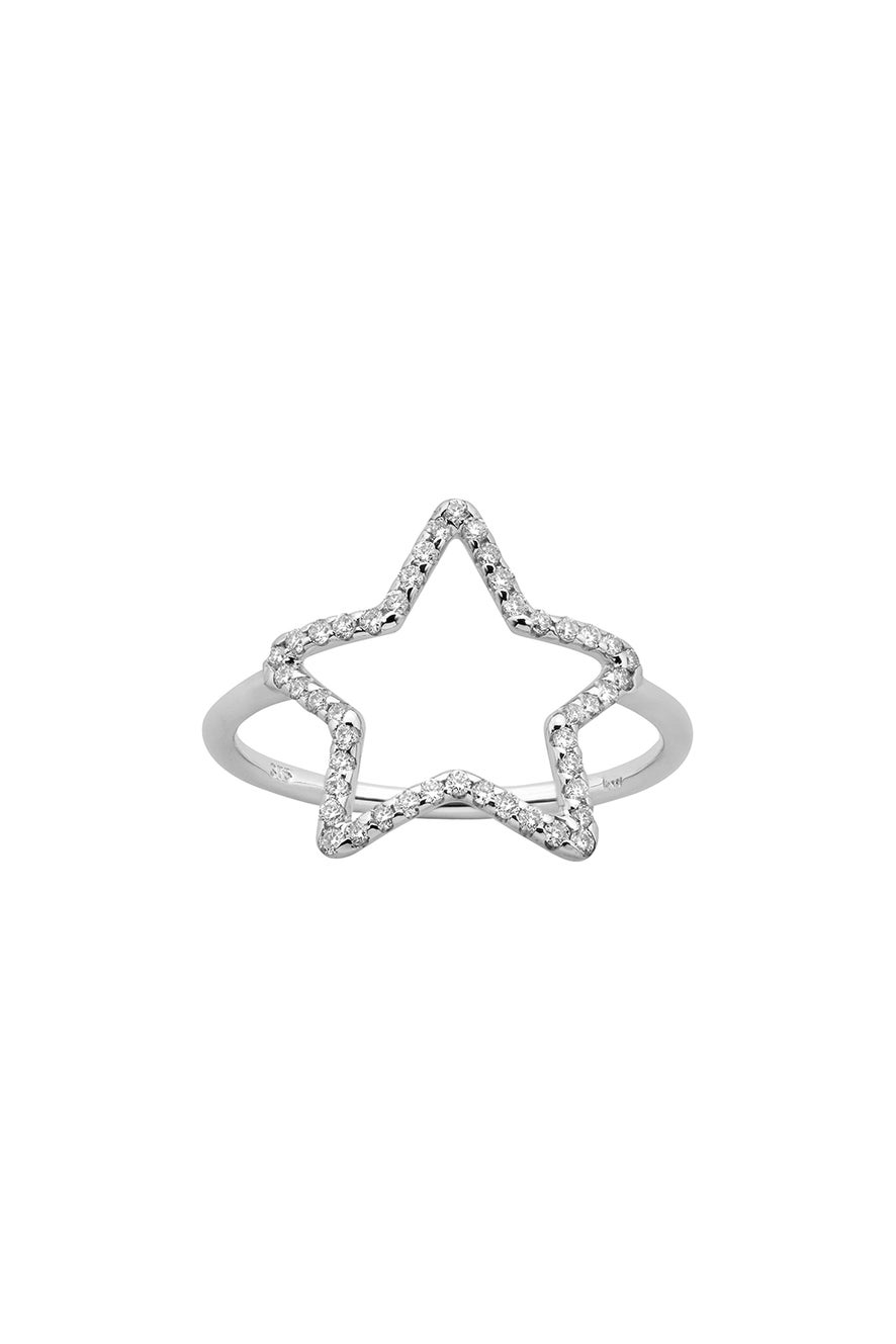 Diamond Star Ring, White Gold, .26ct Diamond