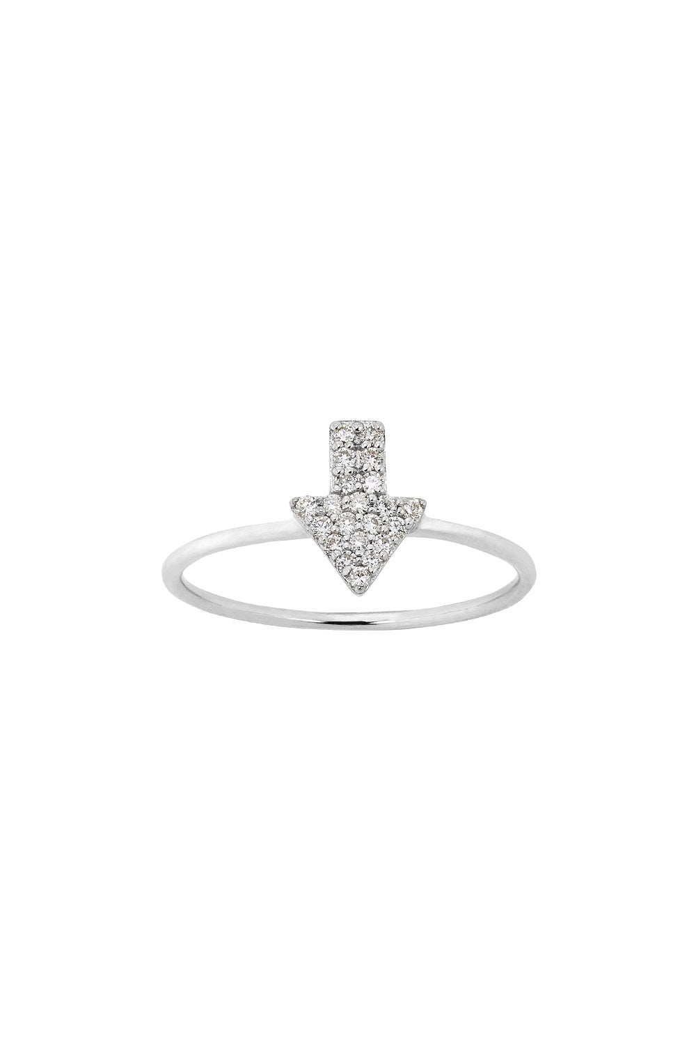 Diamond Superfine Arrow Ring, 9ct White Gold, .13ct Diamond