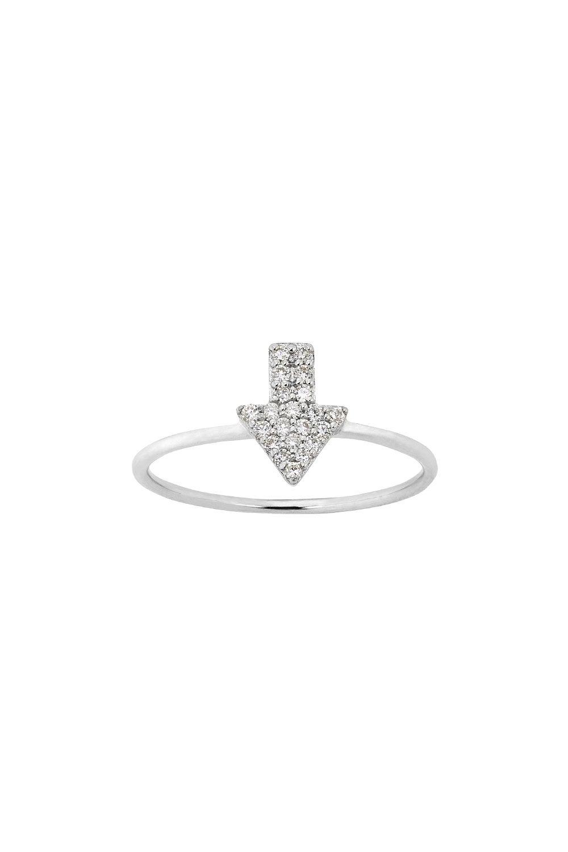 Diamond Superfine Arrow Ring, 9ct White Gold, .13ct Diamond