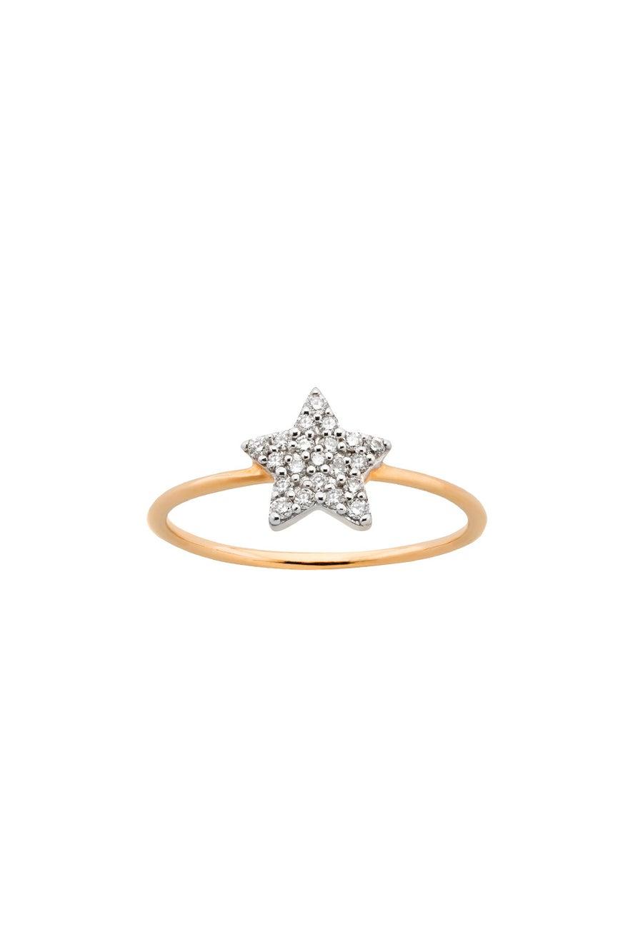 Diamond Superfine Star Ring 9ct Gold, .15ct Diamond