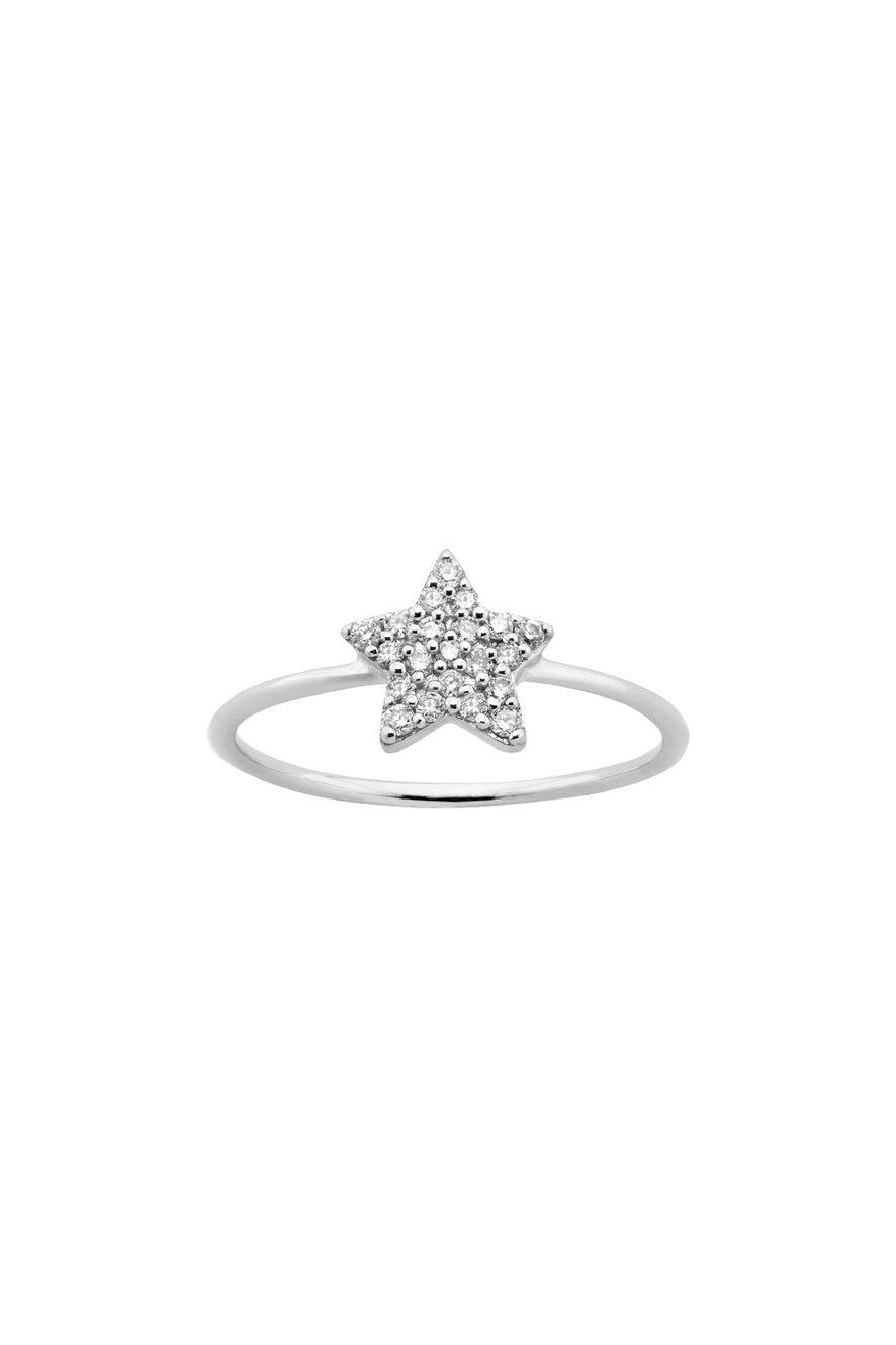 Diamond Superfine Star Ring 9ct White Gold, .15ct Diamond