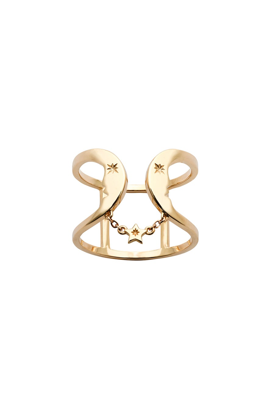 Double Crescent Ring Gold