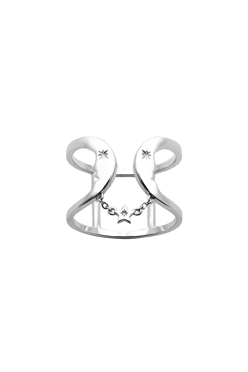 Double Crescent Ring Silver