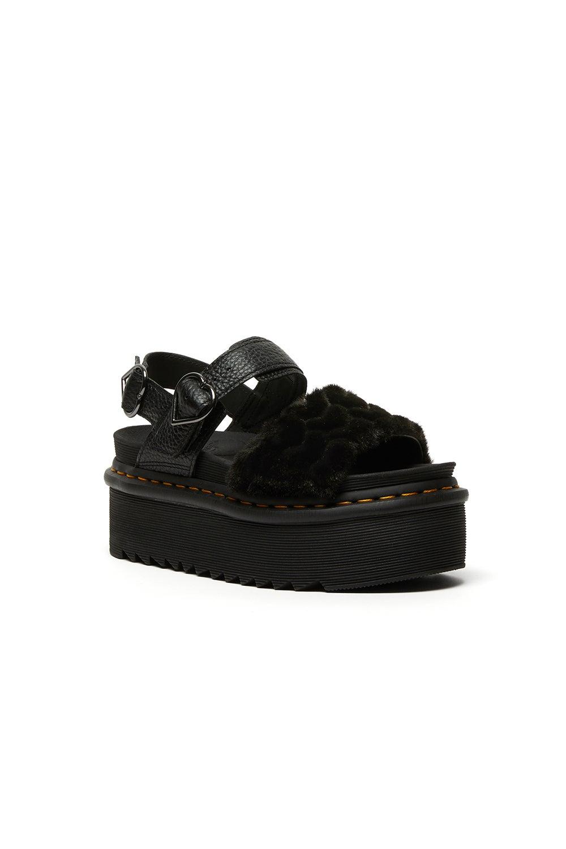 Dr. Martens Voss Quad Fluffy Sandal Black