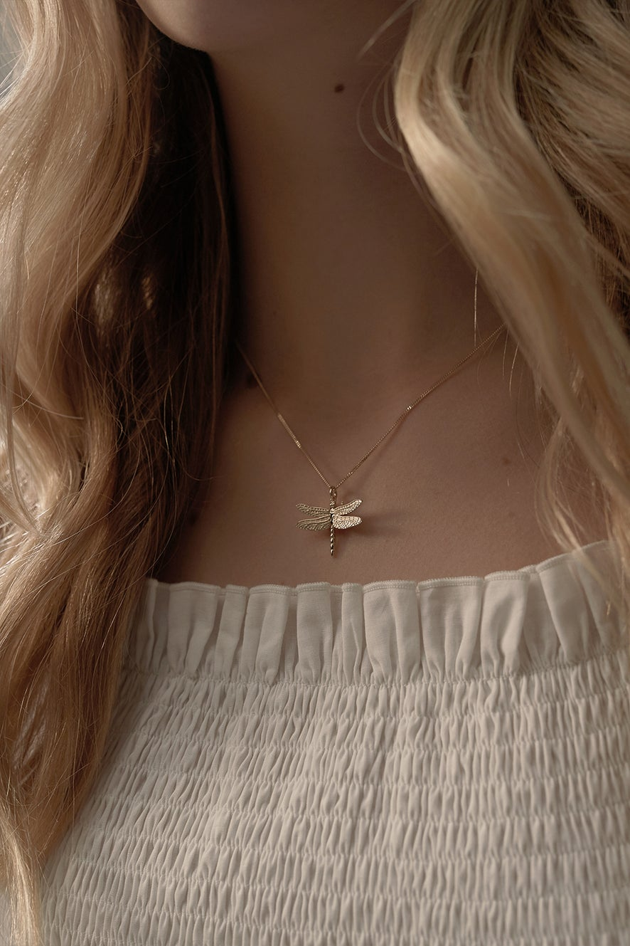 Dragonfly Necklace Rose Gold