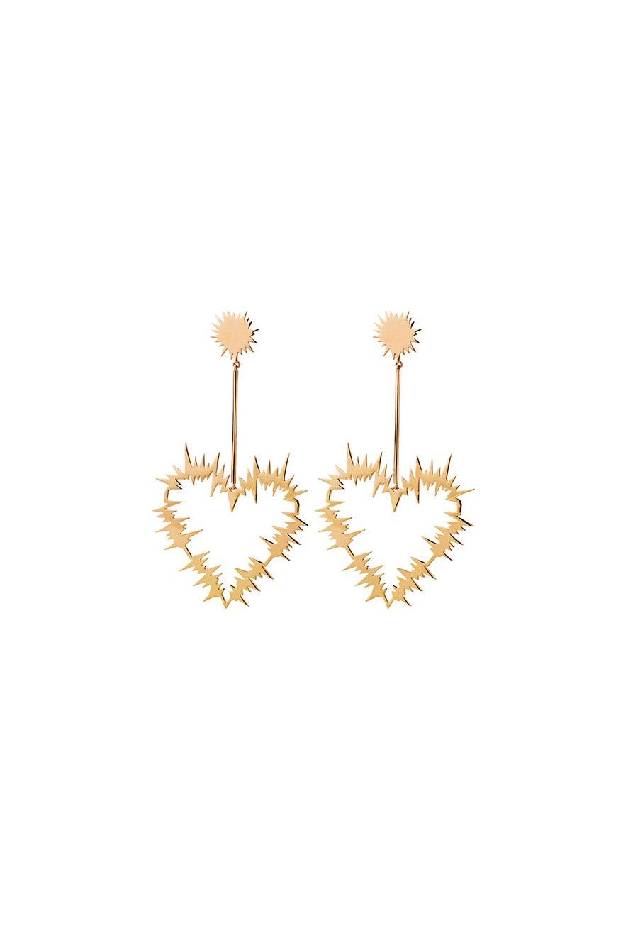 Electric Heart Drop Earrings Gold
