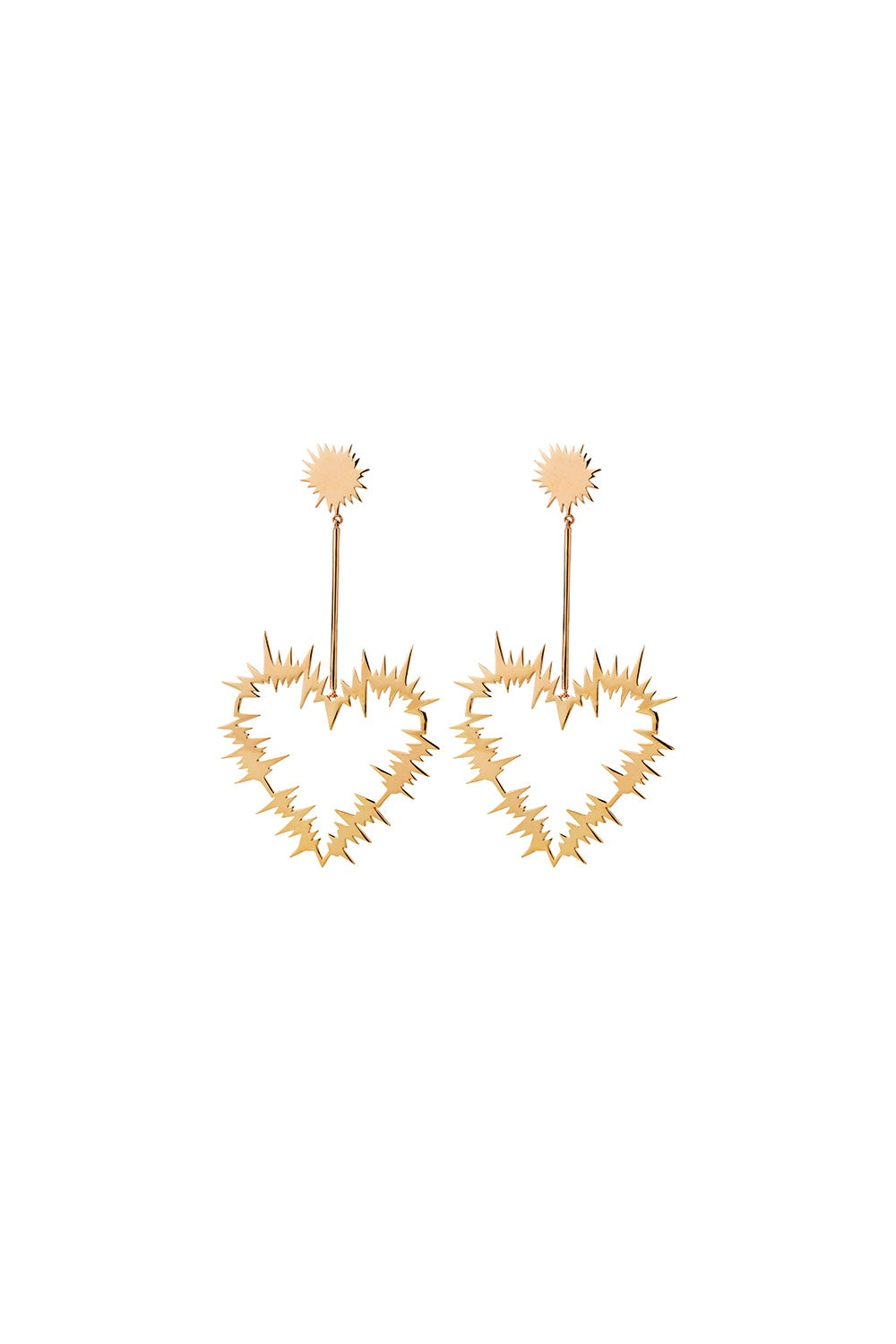 Electric Heart Drop Earrings Gold-Plated