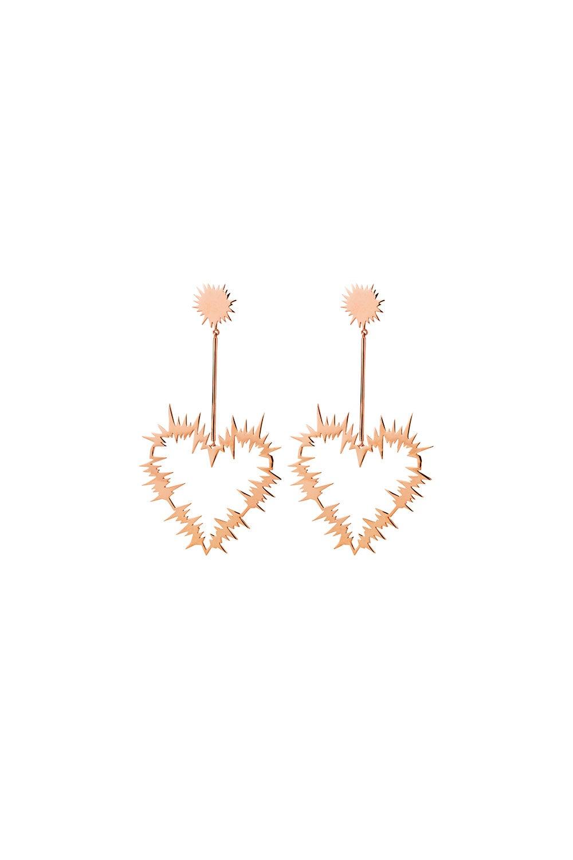 Electric Heart Drop Earrings Rose Gold