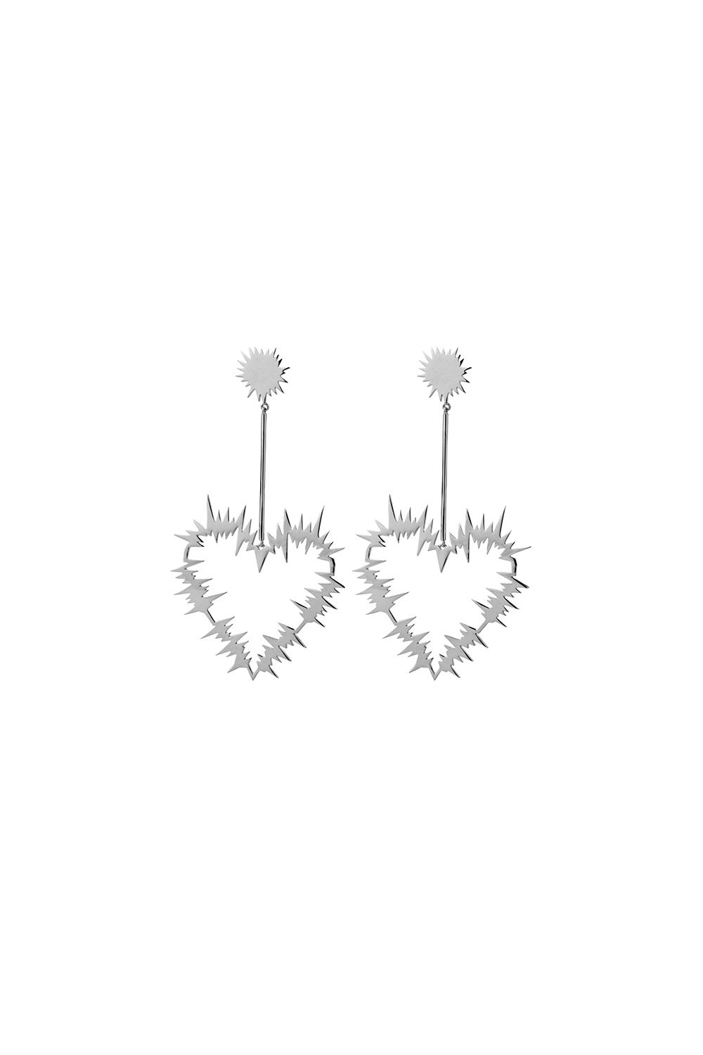 Electric Heart Drop Earrings Silver