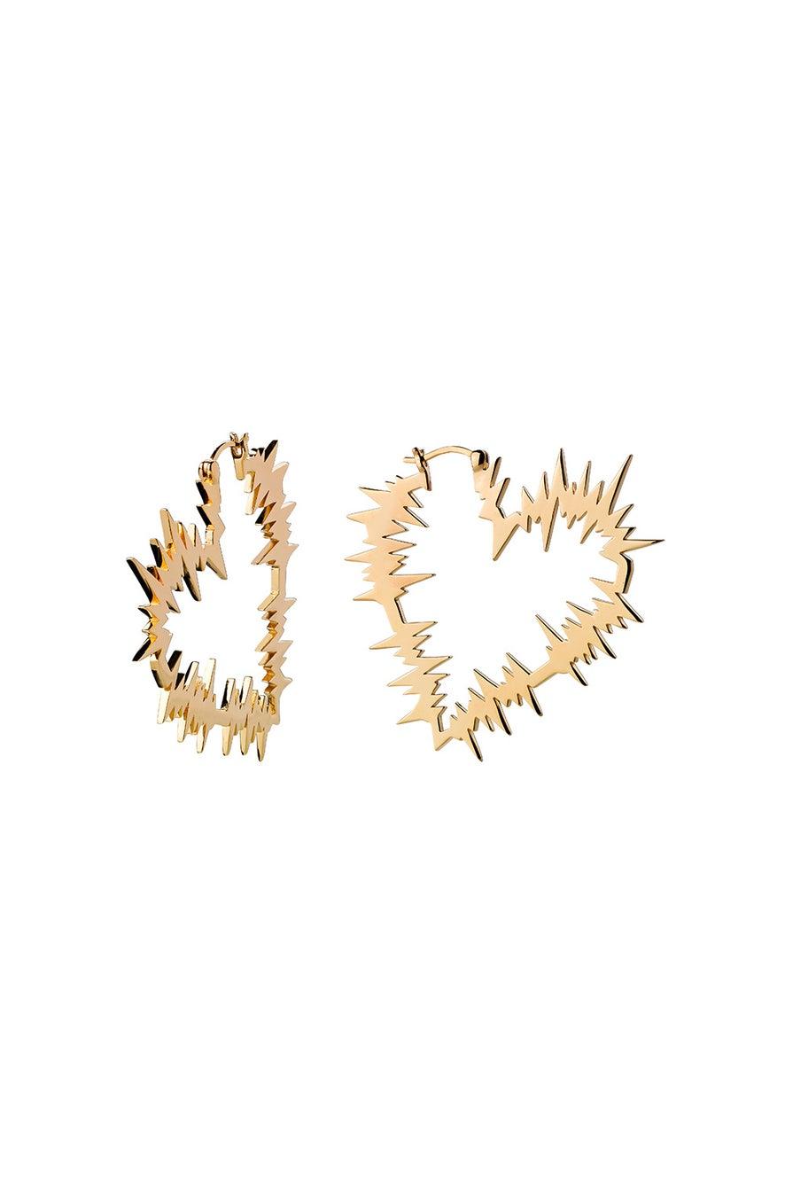Electric Heart Hoop Earrings Gold