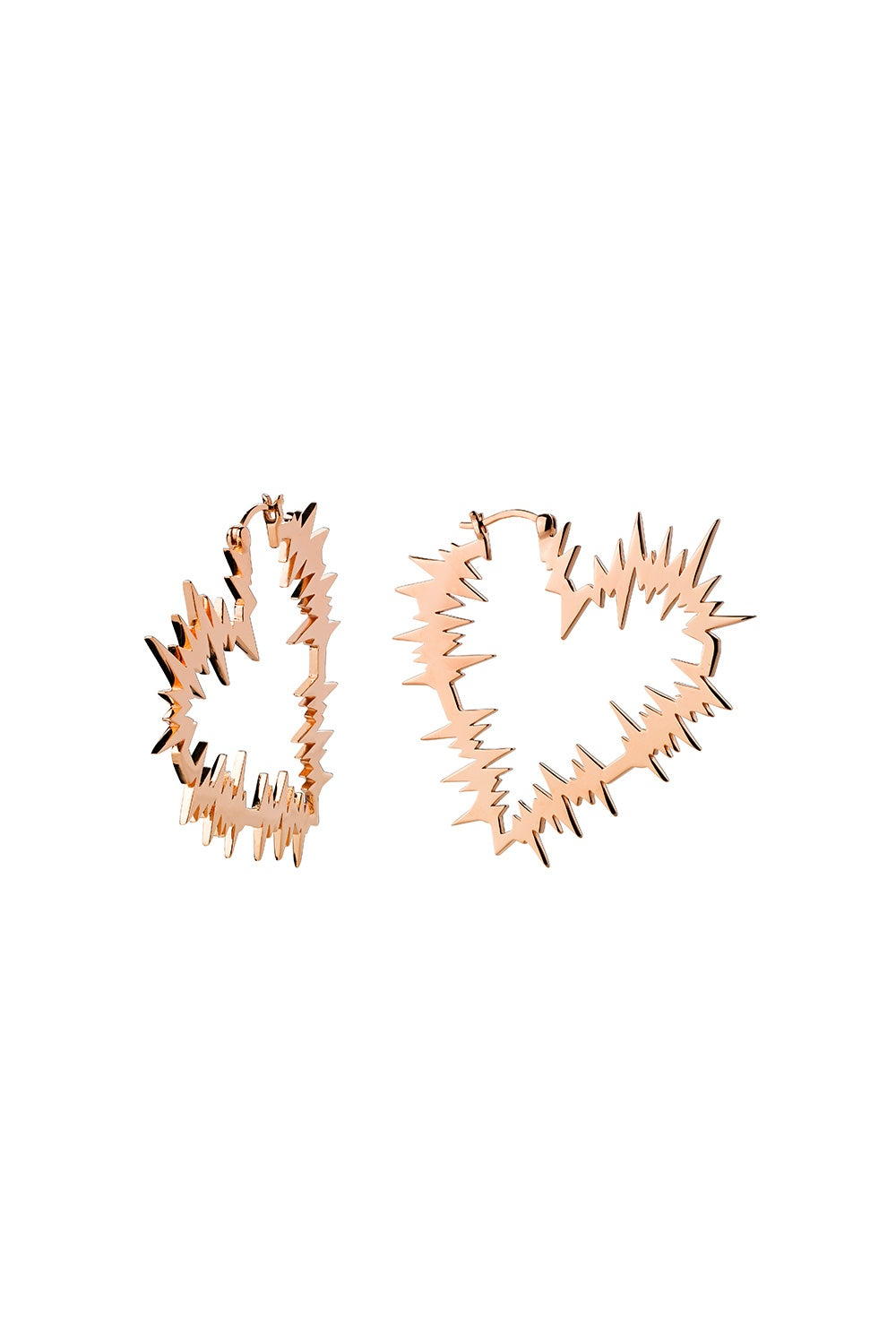 Electric Heart Hoop Earrings Rose Gold