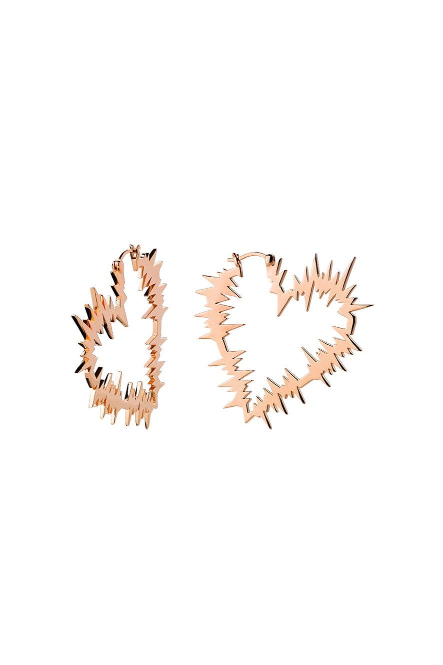 Electric Heart Hoop Earrings Rose Gold