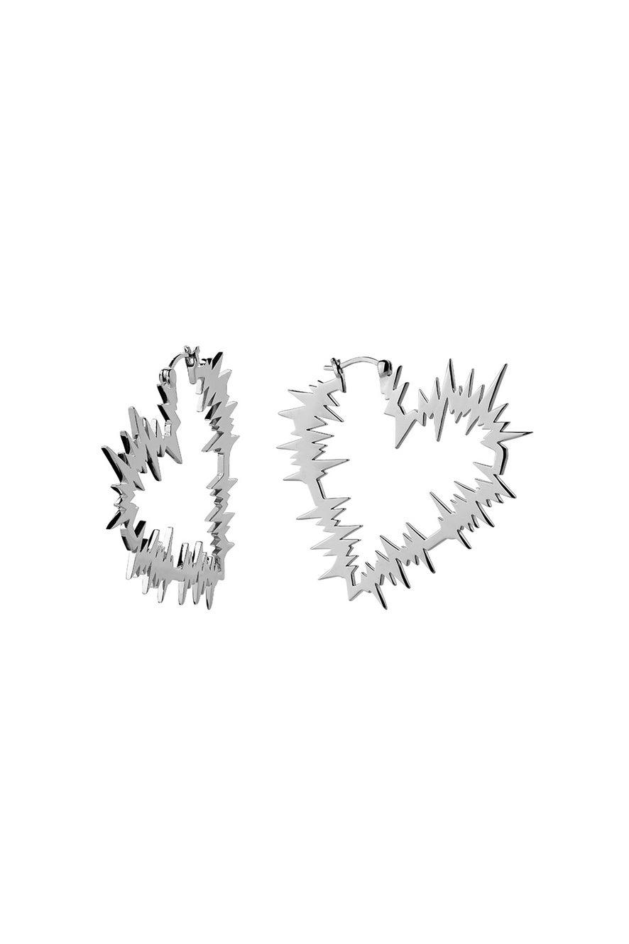 Electric Heart Hoop Earrings Silver