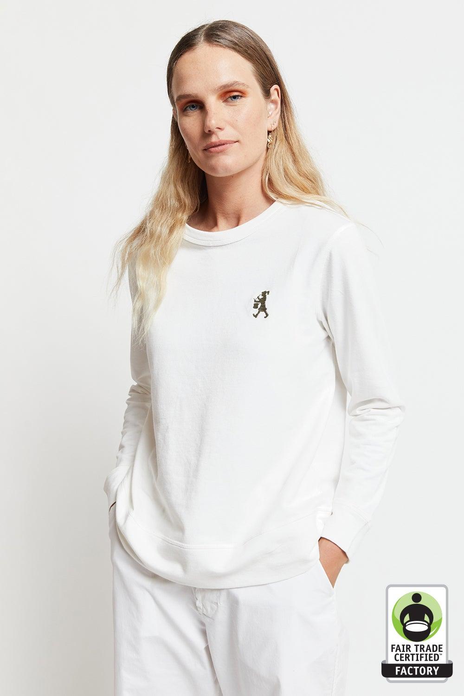 Embroidered Drummer Girl Organic Cotton Sweatshirt