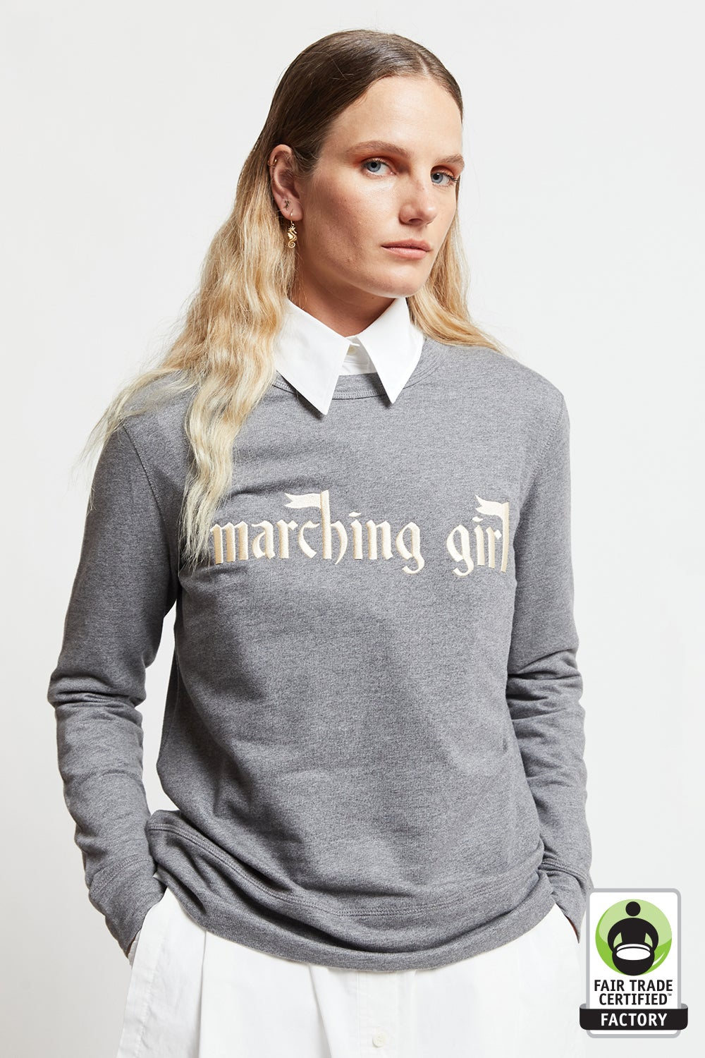 Embroidered Marching Girl Slogan Organic Cotton Sweatshirt