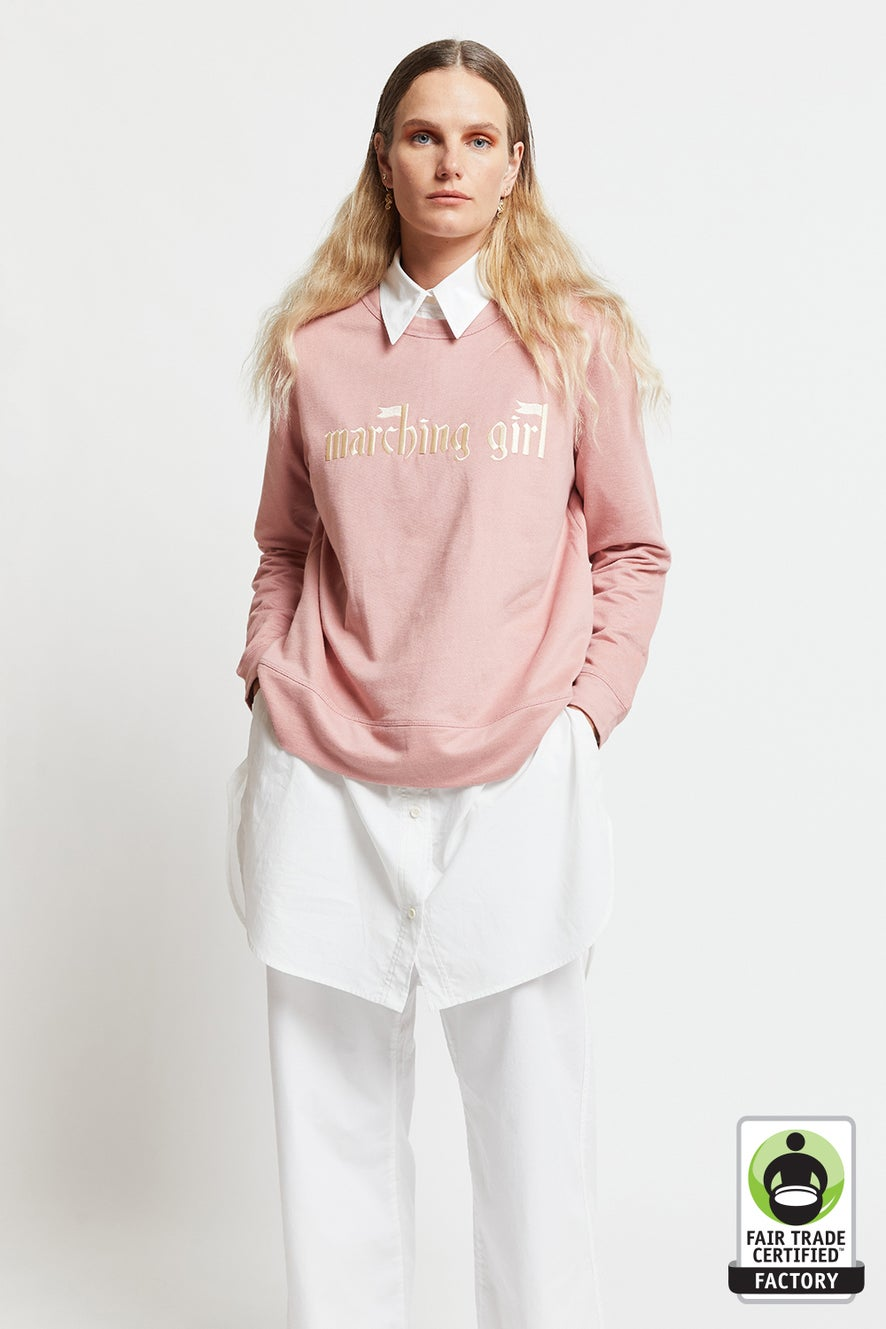 Embroidered Marching Girl Slogan Organic Cotton Sweatshirt