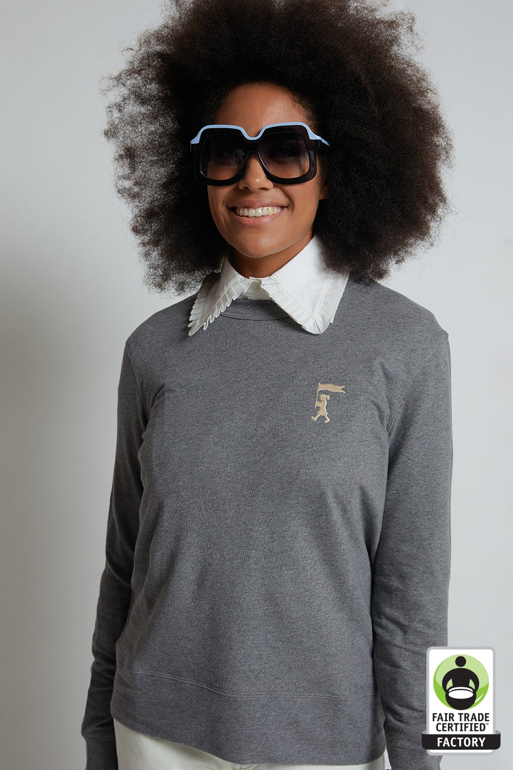 Embroidered Marching Girl Organic Cotton Sweatshirt